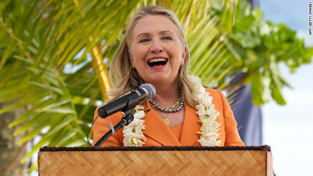 Secretary of State Hillary Clinton speaks at the annual Pacific Islands Forum in Rarotonga, Cook Islands, on August 31.