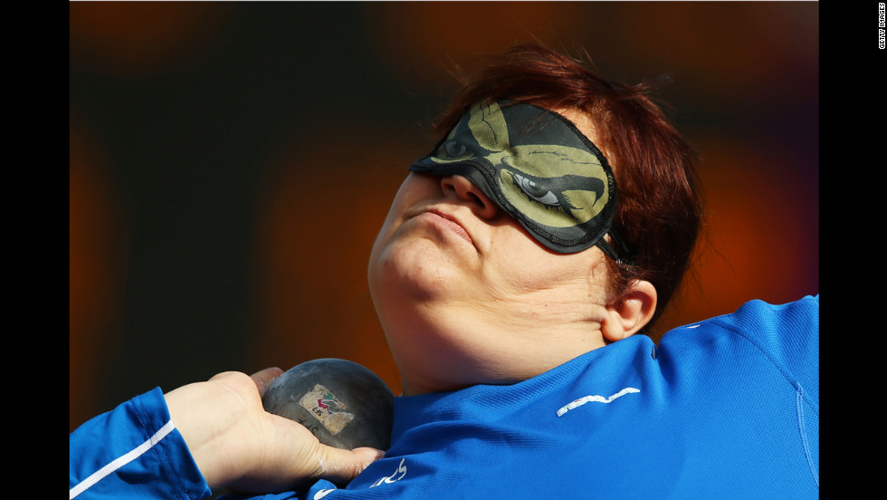 Assunta Legnante of Italy competes in the women's shot put F11/F12 final on Wednesday.