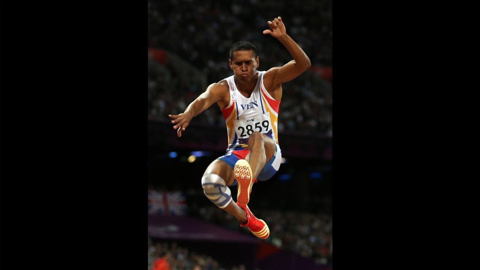 Venezuela's Williams Barreto competes in the men's long jump - F20 final on Tuesday.