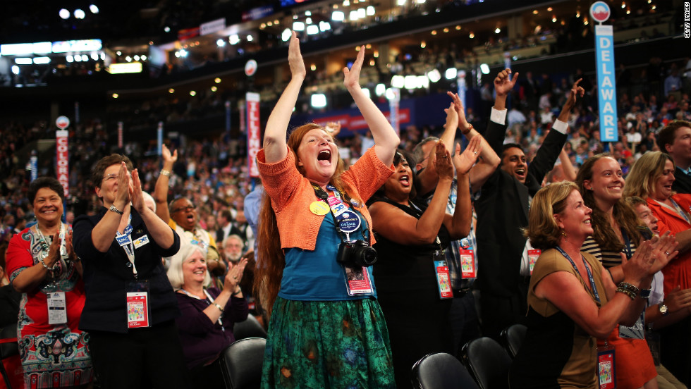 Delegates cheer during Wednesday's program.