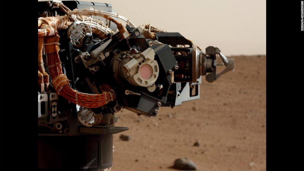 The left eye of the Mast Camera on NASA's Mars rover Curiosity took this image of the rover's arm on September 5, 2012.