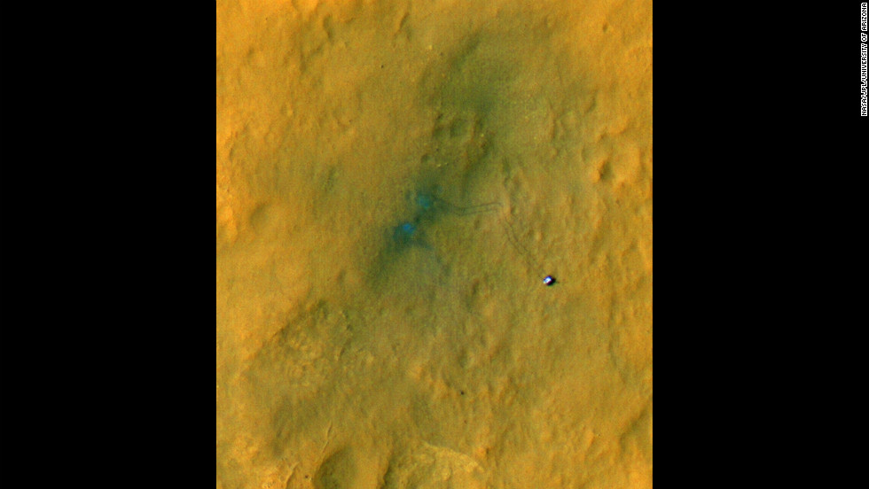 Sub-image one of three shows the rover and its tracks after a few short drives. Tracking the tracks will provide information on how the surface changes as dust is deposited and eroded.