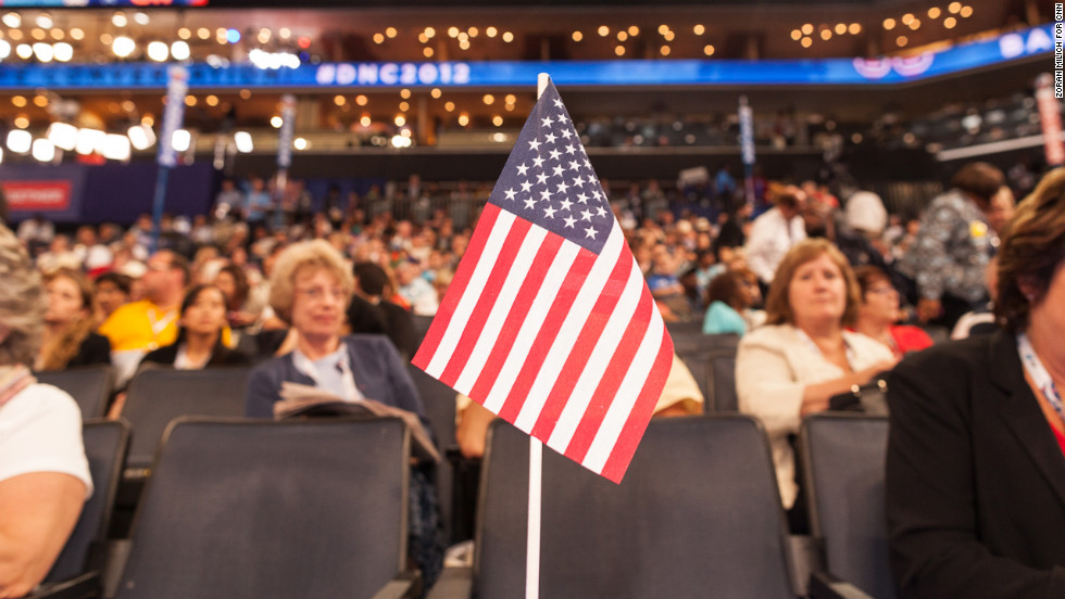 A flag stands at the convention on Wednesday.