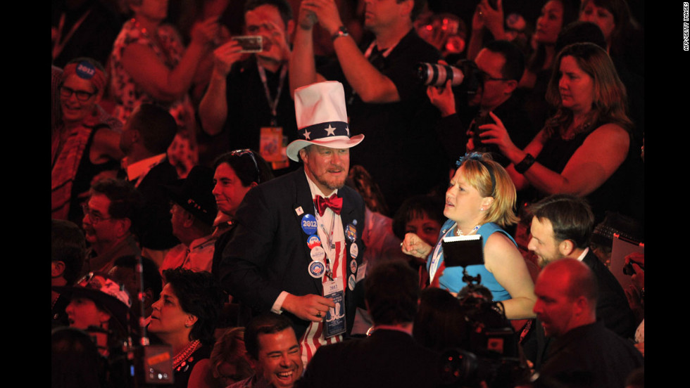 An Uncle Sam impersonator makes his way across the floor at the Time Warner Cable Arena on Thursday.