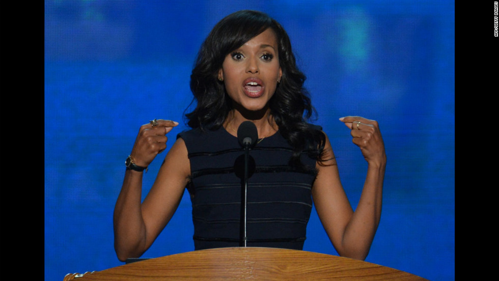 Actress Kerry Washington speaks to delegates on Thursday.