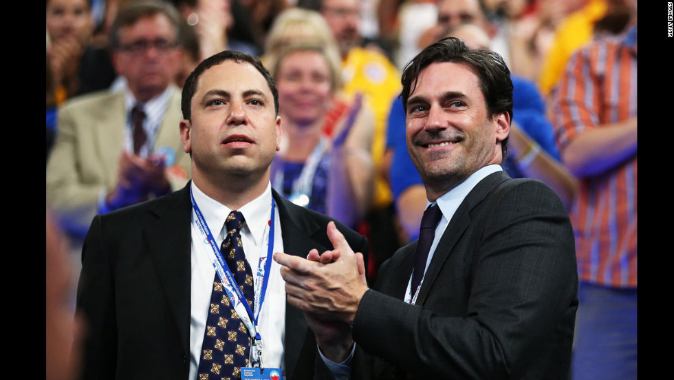 Actor Jon Hamm, right, attends the final day of the Democratic National Convention on Thursday.