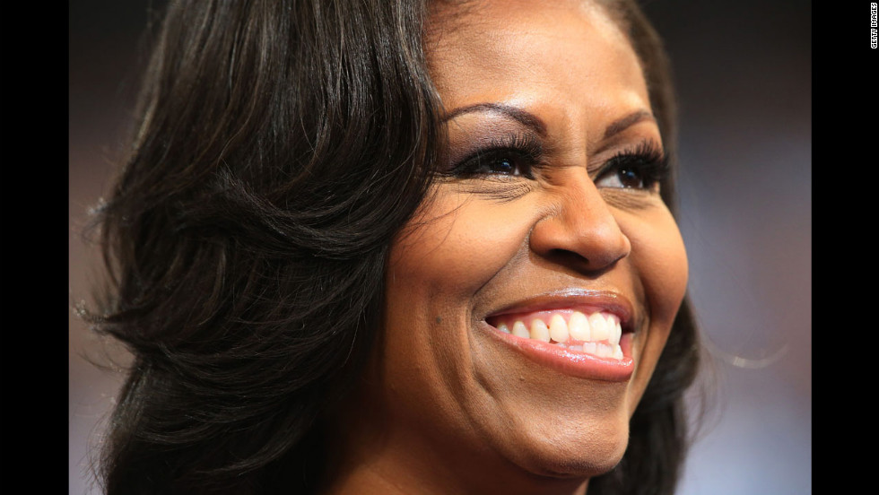 First lady Michelle Obama attends the final day of the Democratic National Convention on Thursday.