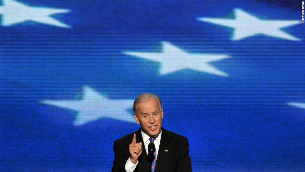 Vice President Joe Biden gives his acceptance speech to run for a second term on Thursday.