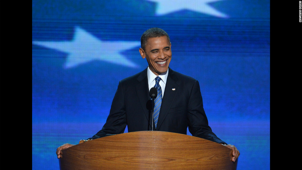 Barack Obama delivers his acceptance speech on Thursday.