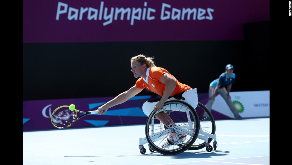 Esther Vergeer of the Netherlands plays a forehand in the final of the women's singles match in wheelchair tennis Friday.