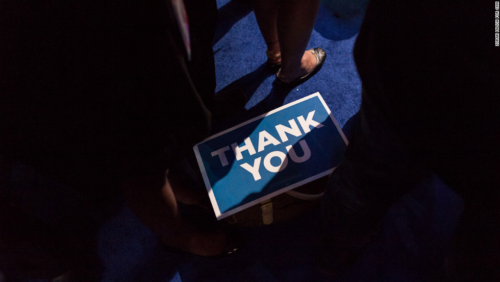 A sign dropped on the floor at the end of the convention on Thursday.