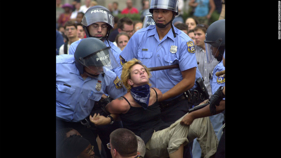<strong>2000:</strong> Officers carry a protester to a van during the 2000 Republican National Convention in Philadelphia. Demonstrators committed various acts of civil disobedience, bringing traffic in Center City Philadelphia to a crawl.
