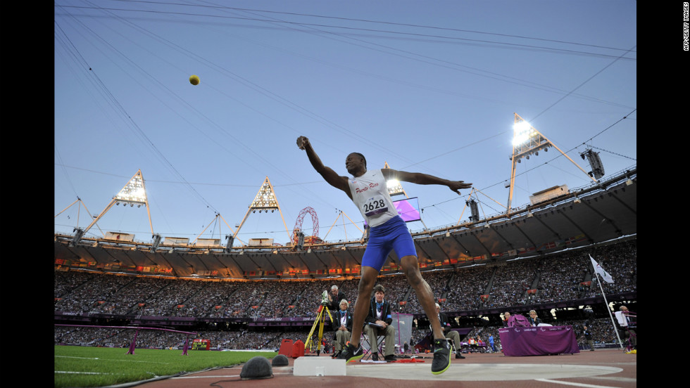 Puerto Rico's Jose Benitez Sanchez competes in the men's shot put F20 final on Friday.