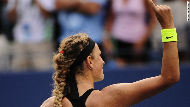 Top seed Victoria Azarenka signals her victory over Maria Sharapova in the U.S. Open semifinals.