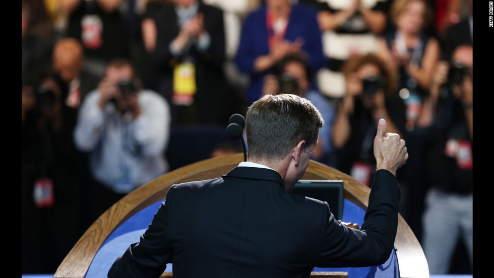 Delaware Attorney General Beau Biden gestures during his speech to nominate his father Joe Biden for the office of vice president on Thursday.
