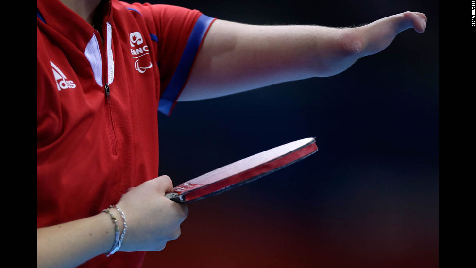 Audrey Le Morvan of France prepares to serve against Poland in the women's team table tennis bronze medal match on Saturday.