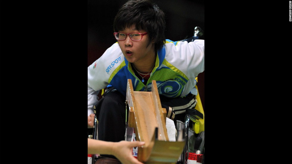 South Korea's Choi Ye-Jin watches her shot in the gold medal final of the boccia mixed individual BC3 competition against South Korea's Jeong Ho-won on Saturday.