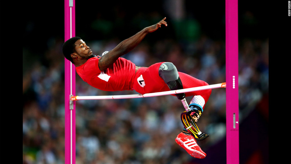 Richard Browne of the United States competes in the men's high jump F46 final on Saturday.