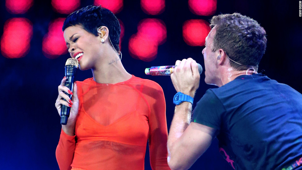 Rihanna performs with Chris Martin of Coldplay.