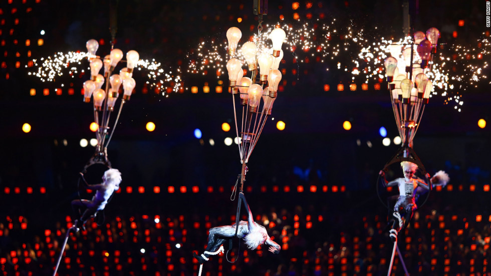 Circus artists perform during the closing ceremony.