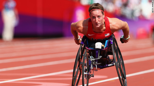 Tatyana Mcfadden of the United States competes in the Women's 400m - T54 heats on day 5 of the London 2012 Paralympic Games.