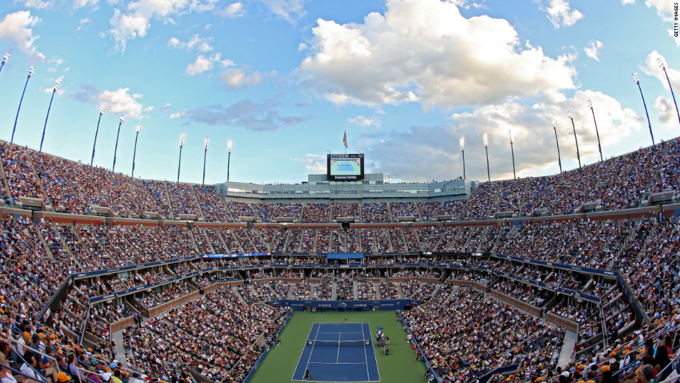 Spectators in a packed Arthur Ashe Stadium watch the women's singles final match.