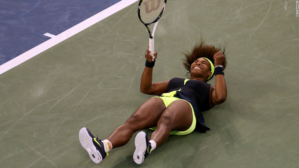 Williams celebrates match point after defeating Azarenka.
