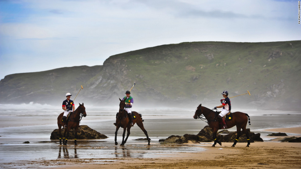 Polo players practice at Watergate Bay, Cornwall, in preparation for the Veuve Clicquot Polo on the Beach match on Monday, September 10.