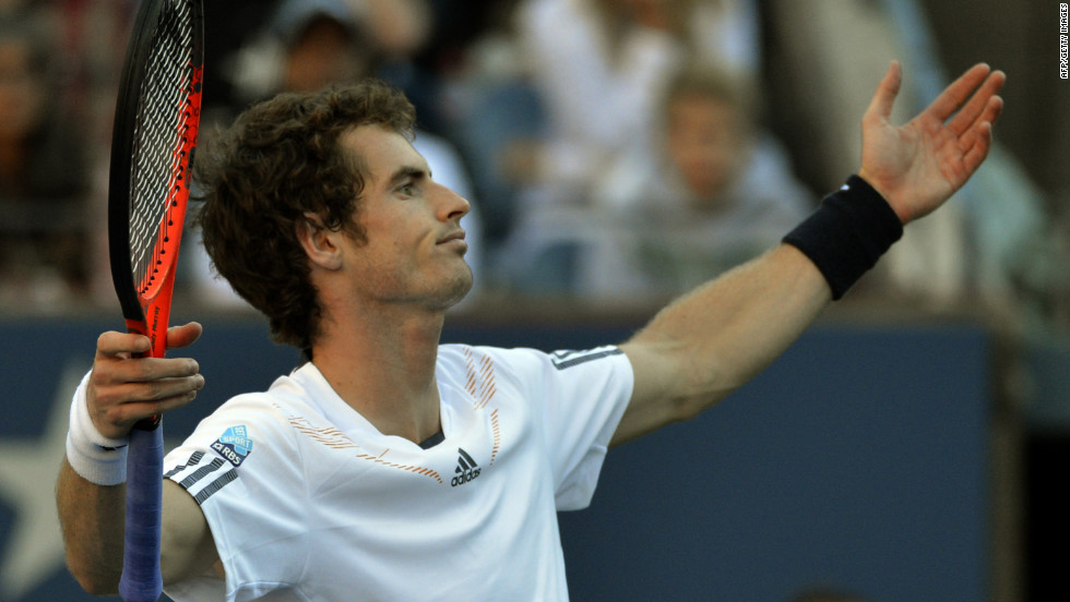 Andy Murray reacts during his match against Novak Djokovic on Monday.