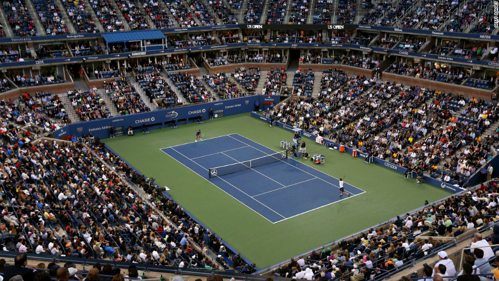 Spectators inside Arthur Ashe Stadium watch the men's singles final match between Andy Murray of Great Britain and Novak Djokovic of Serbia on Day 15 of the 2012 U.S. Open on Monday, September 10.