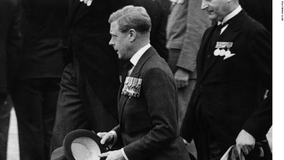 Edward VIII, pictured at the Canadian National Memorial at Vimy Memorial Ridge, France, in July 1936, ascends to the British throne on January 20, 1936, succeeding his father, King George V, upon his death.