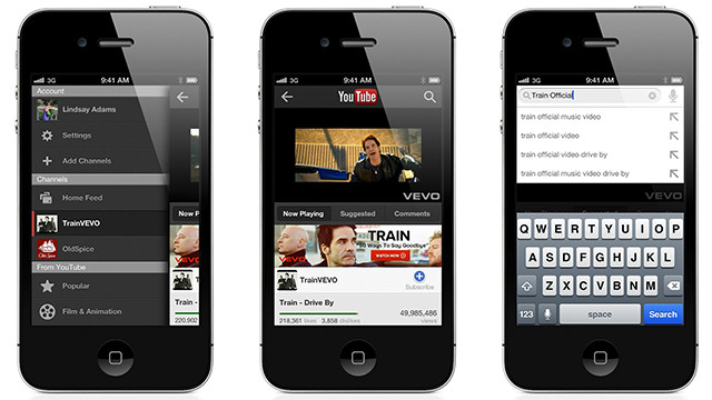The new YouTube app for Apple's iOS mobile operating system.