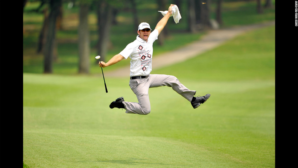 Berry Henson of the United States celebrates a shot during the pro-am event ahead of the Yeangder Tournament Players Championship at Linkou lnternational Golf and Country Club on Tuesday in Taipei, Taiwan.