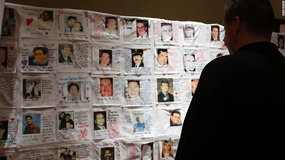 Pictures of loved ones killed in the attacks are displayed at a preview of the National September 11 Memorial Museum's memorial exhibition on Monday in New York.