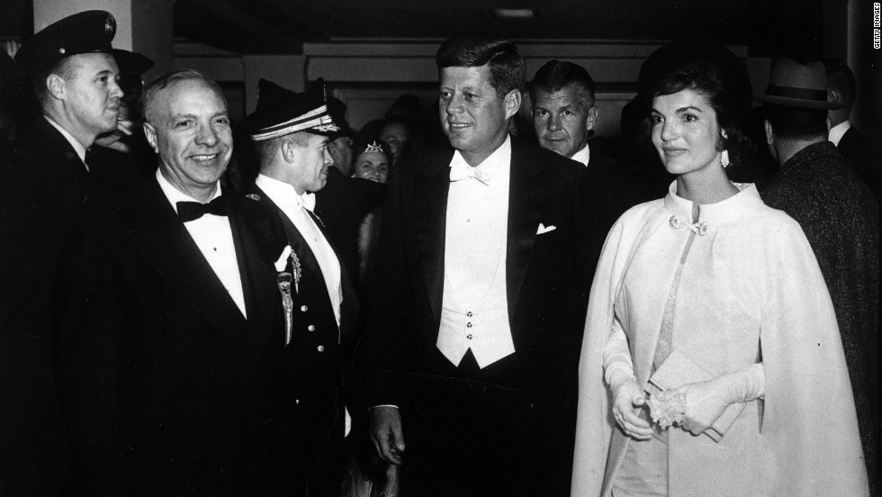 "President John F. Kennedy and first lady Jacqueline Kennedy attend the inaugural ball. Jackie O often sought Vreeland's guidance on style, particularly American designers. ""To say Diana Vreeland has dealt only with fashion trivializes what she has done. She has commented on the times in a wiseand witty manner. She has lived a life,"" Onassis said."