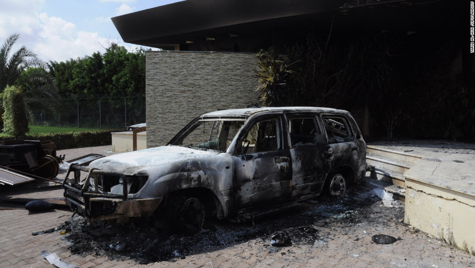 A burnt vehicle is seen at the U.S. mission in Benghazi on September 12.