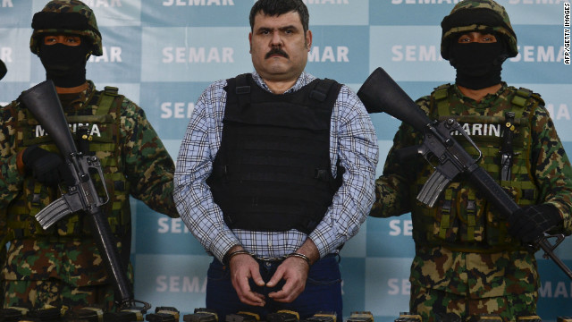 Alleged Gulf  drug cartel leader Jorge Eduardo Costilla Sanchez is presented to the press in Mexico City, on September 13, 2012.