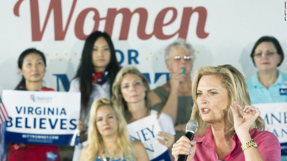 Ann Romney, wife of Republican presidential candidate Mitt Romney, waves to the crowd before speaking at a rally in Leesburg, Virginia, on Friday, September 7.