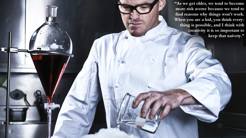"Heston Blumenthal: ""As we get older, we tend to become more risk averse because we tend to find reasons why things won't work. When you are a kid, you think everything is possible, and I think with creativity it is so important to keep that naivety."" Image courtesy Neal Haynes"