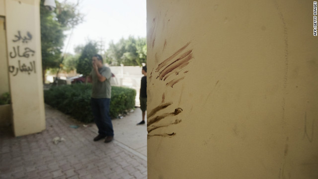 A wall at the main entrance of the US consulate in Benghazi on September 13, 2012 is apparently stained with blood.