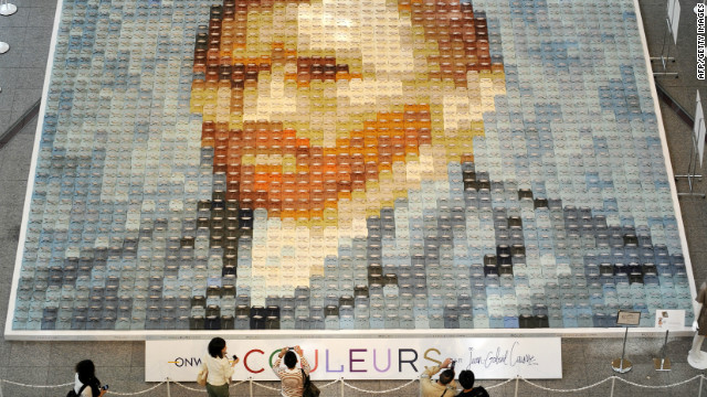 Van Gogh's self-portrait is remade with 2,070 polo shirts, created by Japan's apparel maker Onward Kashiyama Co. You can see both the portrait and the shirts.