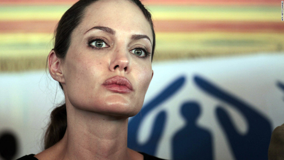 Jolie briefs the press during her visit to the Za'atri camp near Jordan's border with Syria on Tuesday.