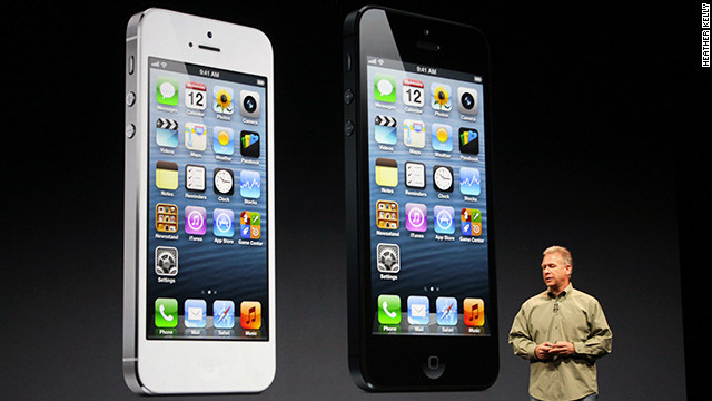 Apple's Phil Schiller speaks at the iPhone 5 press event in San Francisco on September 12.