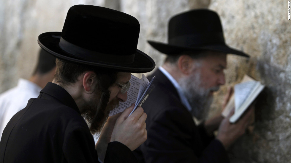 Jewish worshippers pray at the Western Wall on Friday.