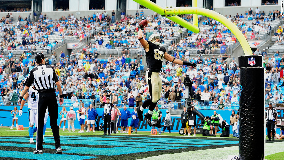 Jimmy Graham of the New Orleans Saints celebrates Sunday after scoring a touchdown against the Carolina Panthers.