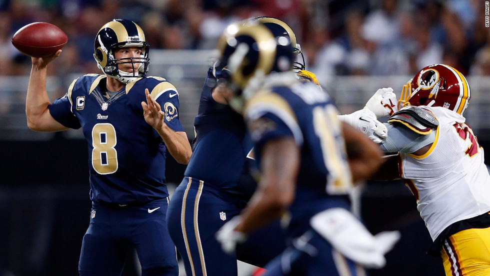 Quarterback Sam Bradford of the St. Louis Rams passes during Sunday's game against the Washington Redskins.