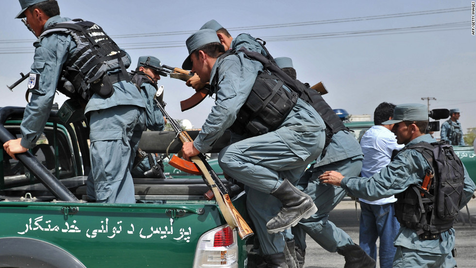 Afghan police leave Jalalabad Road following an anti-U.S. protest Monday in Kabul.