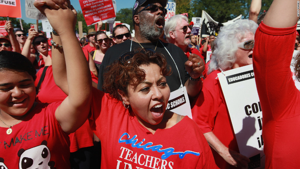Chicago teachers and their supporters attend a rally at Union Park on Saturday, September 15. An estimated 25,000 people gathered in the park in a show of solidarity.