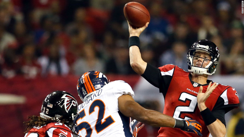 Quarterback Matt Ryan of the Atlanta Falcons throws the ball against the Denver Broncos on Monday.