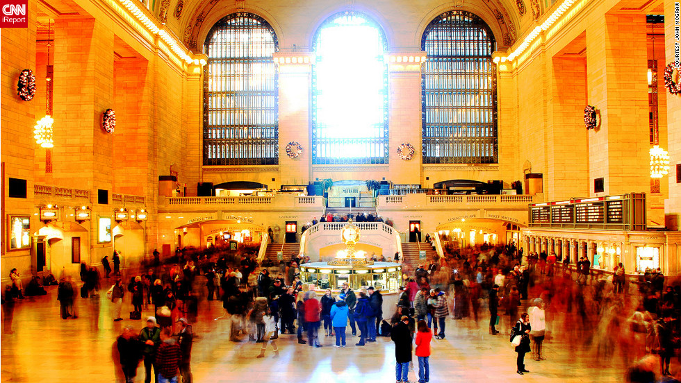 "John McGraw's image of Grand Central Station, New York was one of several he sent in to iReport. Each photo means something special, he says, because of the memories that go along with each trip. ""The thought of the millions of people that go through that building, and the history of it, is just spectacular,"" he said."